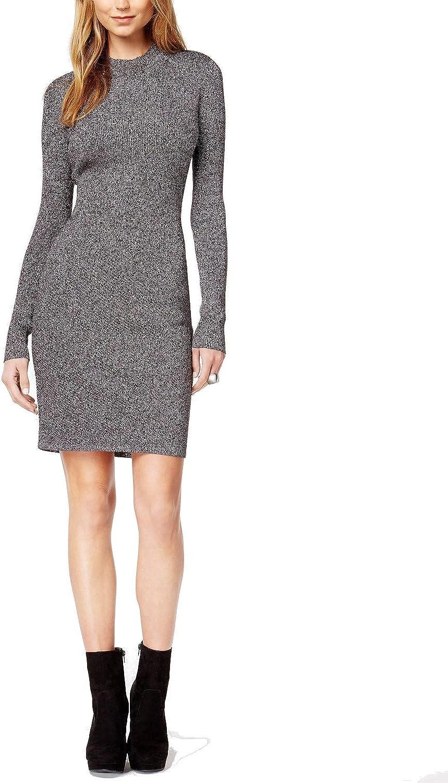 Bar III Womens Metallic KneeLength Sweaterdress