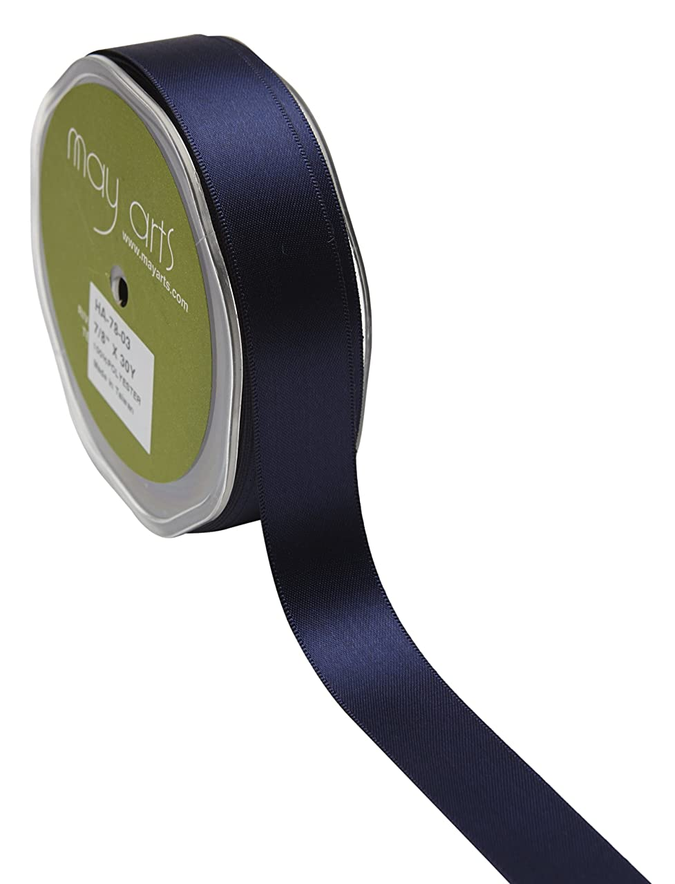 May Arts 7/8 Inch Double Face Satin 30 yd Navy