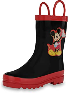 Disney Kids Boys' Mickey Mouse Character Printed Waterproof Easy-On Rubber Rain Boots (Toddler/Little Kids)