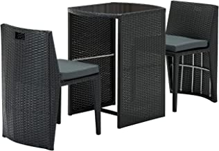 Gardeon 3 Piece Outdoor Dining Furniture Set Rattan Wicker Bar Table Stool-Black