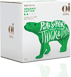 Oi Girl Organic Cotton Pads, Box of 10 Day Pads, Ultra-Thin and Winged, Individually-Wrapped