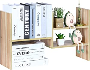 YCOCO Bookshelf Desk Storage Organizer,Multipurpose Display Natural Stand Desk for Home Decor,Office Supplies Shelves Organizer,Light Brown