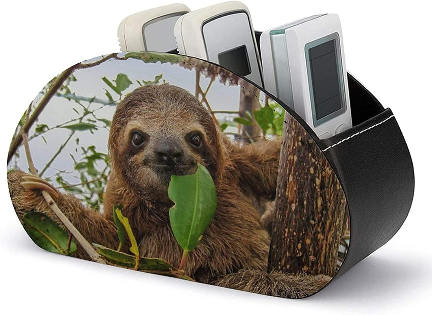 Remote Control Holder PU Leather Cute Baby Toed Max 51% OFF Brown Funny Regular store Slot