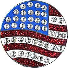 Navika U.S. Flag Round Crystal Golf Ball Marker - ADD Some Bling to Your Game!