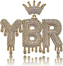 TOPGRILLZ Iced Out CZ Lab Simulated Diamond 3 Custom Crowned Dripping Initial Letters Pendant Necklace Rope Chain for Women Men