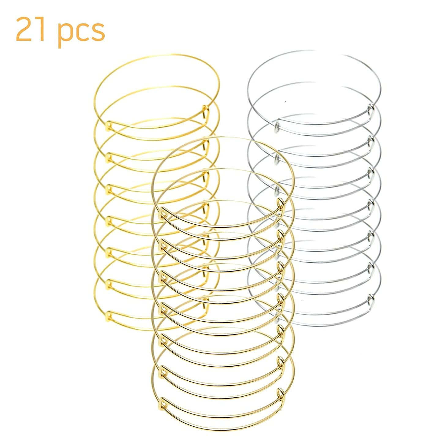 Monrocco 21 Pieces Expandable Wire Blank Bangle Bracelet for DIY Jewelry Making (Gold,Silver,Rose Gold)