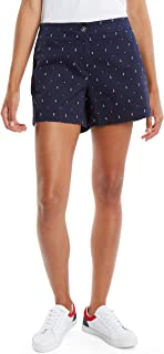 Nautica Womens 9303ZB Hint of Vocation Tailored Stretch Cotton Patterned Short Casual Shorts