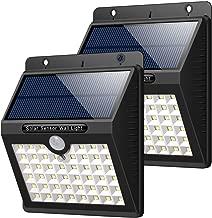 HETP Lampe Solaire Extérieur Jardin, 46 LED éclairage Solaire Extérieur avec Détecteur de Mouvement étanche sans Fil LED Sécurité Lumière Solaire Puissant 3 Modes Intelligentes Luminaire - 2 Pack