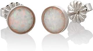Orecchini in argento opale bianco sterling rotondo 6mm minimalista