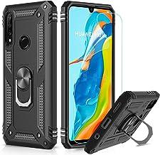 LeYi Custodia Huawei P30 Lite Cover, 360° Girevole Regolabile Ring Armor Bumper TPU Case Magnetica Supporto Smartphone Silicone Custodie con HD Pellicola per Huawei P30 Lite Case Nero