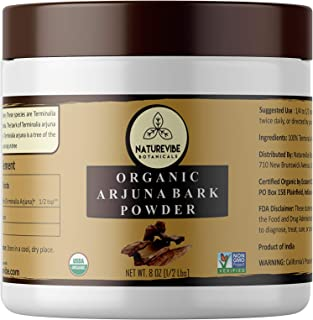 Naturevibe Botanicals USDA Organic Arjuna Bark Powder (8 Ounces) - Terminalia Arjuna - 100% Pure & Natural [Packaging May Vary]
