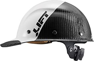 LIFT Safety DAX Fifty 50 Carbon Fiber Cap Style Hardhat ANSI Compliant 6 Point Upgraded Suspension Triple Reinforced Crown, Class C (White - Carbon Fiber)