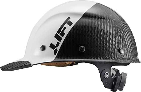 LIFT Safety DAX Fifty 50 Carbon Fiber Cap Style Hardhat ANSI Compliant 6 Point Upgraded Suspension Triple Reinforced Crown Class C White Carbon Fiber
