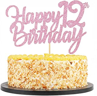 QIYNAO Happy Birthday Cake Topper Purple Flash 12 Years Old Happy Birthday Cake Flag Birthday Party Cake Decorations-Handmade, Direct use, Birthday Party Decorations (12th)