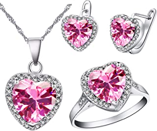Uloveido Big Heart Shape Crystal Drop Pendant Necklace, Earrings and Rings Wedding Jewelry Set for Bridal Women Birthday Anniversary T481