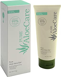 PURE AloeCare 99% Pure Organic Aloe Vera Gel, Provides Aloe Vera Benefits in Their Natural State to Moisturize, Nourish, Repair, Soothe, Great for Scaring, Burns, Sun Burn, Eczema, 4 oz (114g)