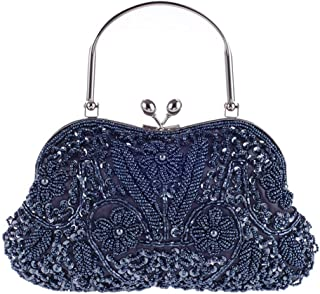Vintage Floral Jewels Beaded Evening Purse Clutch Kissing Lock Metal Top-handle Prom Party Bag