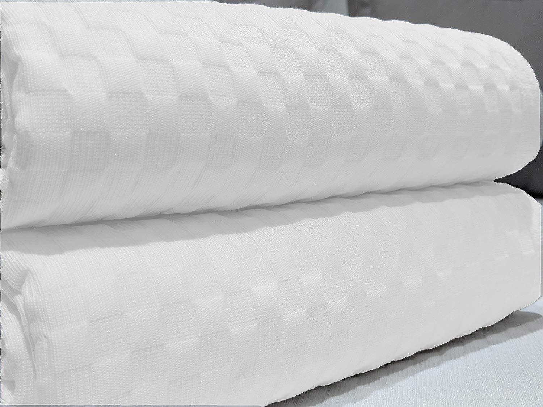 blanc ou lin blanc Toutes les mesures 235x260 Nora Home Couvre-lit en jacquard piqu/é motif carreaux cama 135