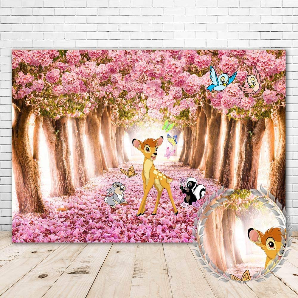 Bambi Backdrop for 1st Birthday Party 7x5 Pink Flowers Bambi and Butterfly Baby Shower Background for Girl Vinyl Spring Forest Bambi Themed Happy Birthday Backdrops for Kids