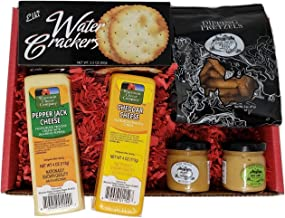 Specialty Gourmet Snack Gift Basket - features 100% Wisconsin Cheddar & Pepper Jack Cheeses, Crackers, Pretzels & Mustard....