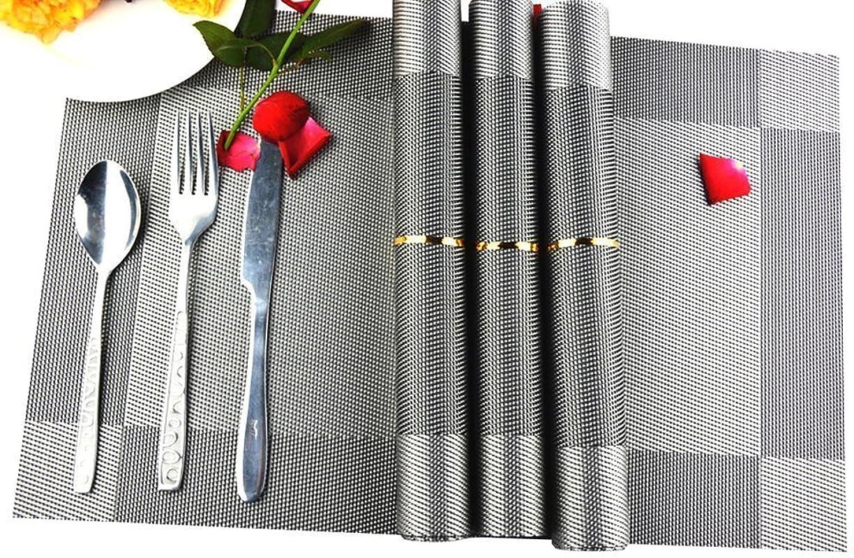 Placemats Set Of 8 AAndrea Heat Resistant Place Mats Non Slip Washable PVC Round Table Mats Woven Vinyl Placemat 12x18 Silver