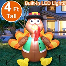 4 Foot Tall Inflatable Turkey Fall Thanksgiving Blow Up Decorations,【Built-In 3 Sandbag】LED Light-Up Turkey Thanksgiving Fall Yard Decorations for Indoor Outdoor Lawn Decor (4 Stakes 2 Tethers)