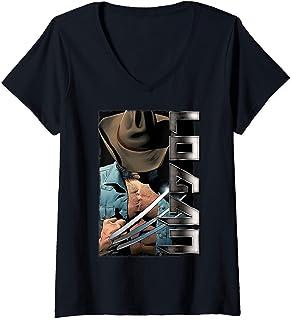 Womens Marvel X-Men Wolverine Old Man Logan Profile T-Shirt avec Col en V