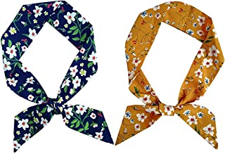 Skinny Scarf Simple Floral Print Necktie for Shirts Ponytail Scarf