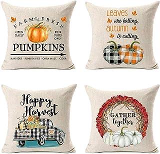MFGNEH Buffalo Check Plaid Farm Fresh Pumpkins Fall Decor Pillow Covers 18x18 Set of 4 Truck Wreath Fall Decorations Throw Pillow Covers,Autumn Decor Pillow Covers