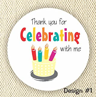 Birthday Cake Favor Stickers - Baby Shower Stickers - Birthday cake Party favor stickers- Thank you for Celebrating with me - Set of 40 stickers