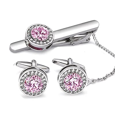 BagTu Pink Cufflinks and Tie Clip Set in Black ...