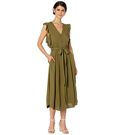 1.STATE Sleeveless Button Front Rayon Crosshatch Midi Dress (Lush Grass) Women