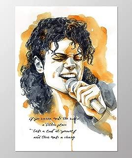 11x14 Michael Jackson poster #A098. Michael Jackson song quote. Michael Jackson wall art. Michael Jackson art print.Poster of Michael Jackson.Michael Jackson gifts.Orange wall art.Watercolor