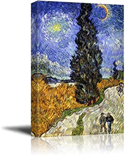 signwin - Canvas Wall Art - Van Gogh Road with Cypress and Star - Poster Giclee Wall Decorations for Living Room High Definition Printed - 16x24 inches