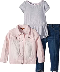 Three-Piece Set Denim Jacket, Fashion Knit Top and Medium Wash Denim Jeans (Toddler)