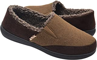 Zigzagger Men's Wool Micro Suede Moccasin Slippers House Shoes Home Indoor/Outdoor Footwear