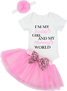 Fathers Day Baby Girl Outfit Letter Print Rompers Tutu Dresses Skirt Set