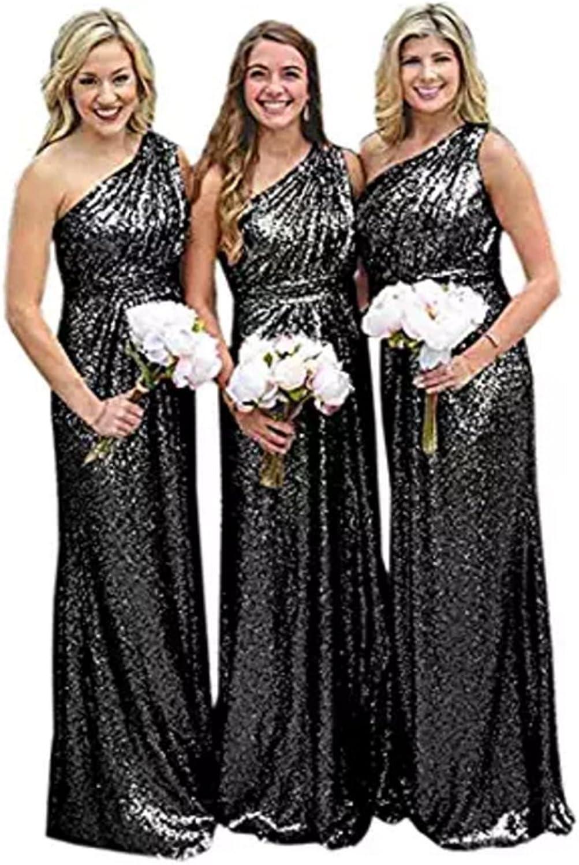 FWVR Women's One Shoulder Sequin Bridesmaid Dresses Long Formal Gowns