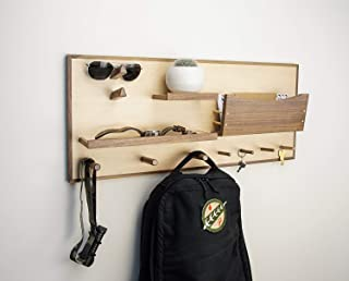 Entryway Wall Organizer with Shelf, Storage for Mail, and Coat and Key Hooks in Maple and Walnut