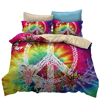 Suncloris,Hippie Psychedelic Tie-Dyed Backdrop Peace Sign,Bedding Boys Girls Watercolor Colorful Art Duvet Cover Set (Twin)