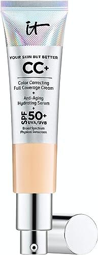 IT Cosmetics Your Skin But Better CC+ Cream, Medium (W) - Color Correcting Cream, Full-Coverage Foundation, Anti-Agin...