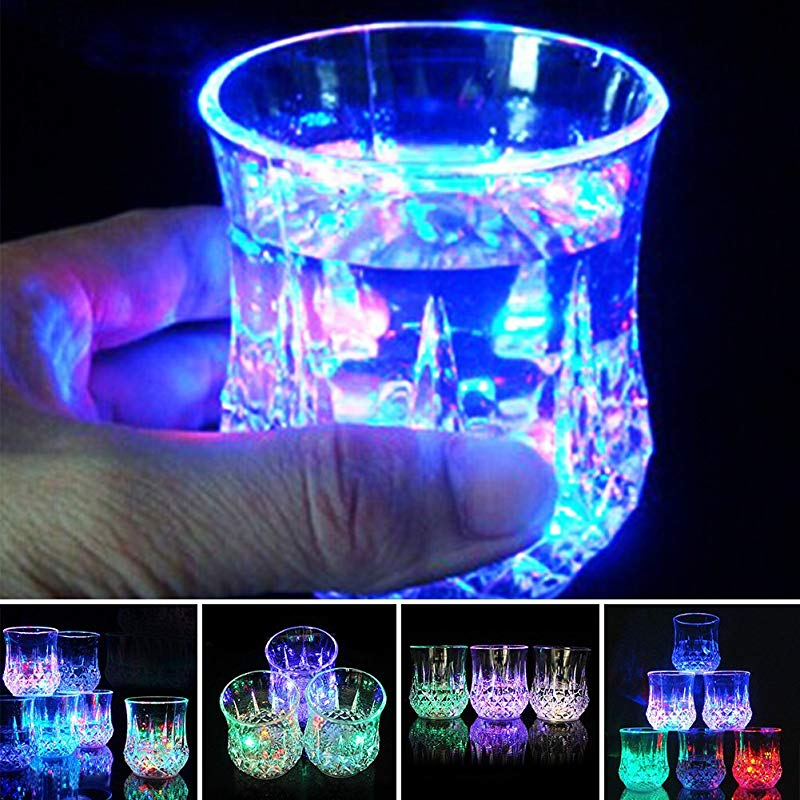 LED Light Cup Mug Glass Water Blinking Octagonal Color Changing Automatic Flash Wave By Pouring Liquid In Beer Wine Whisky Drinking Glass For Bar Club Party Night Drink Ware 8 5cm X 7 3cm