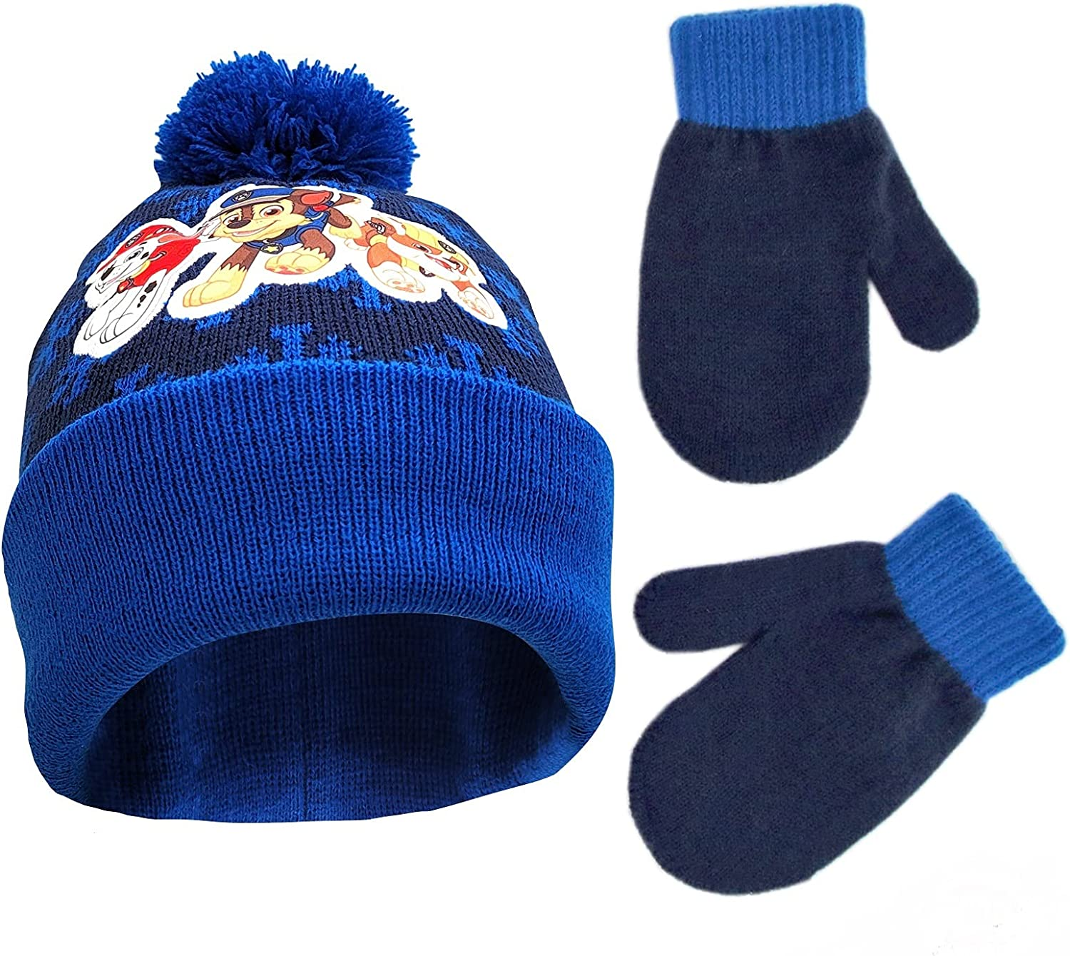 Nickelodeon Boys Winter Hat Set, Paw Patrol's Marshall, Chase and Rubble Toddler Beanie and Mittens for Kids Age 2-4