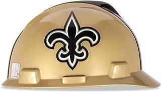 MSA 818402 Officially-Licensed NFL V-Gard Helmets, Staz-On, New Orleans Saints Logo, Standard, Tan/Black/White