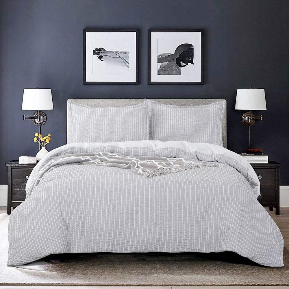 68 x 90 inches 1 Duvet Cover + 1 Pillow Sham Aqua Brushed Microfiber Bedding Set with Zipper,Corner Ties 2 Pieces Bourina Duvet Cover Set Seersucker Stripe,Twin Size