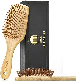 BFWood Bamboo Handle with Bamboo Bristles Paddle Hairbrush for Massaging Scalp - Big Handle