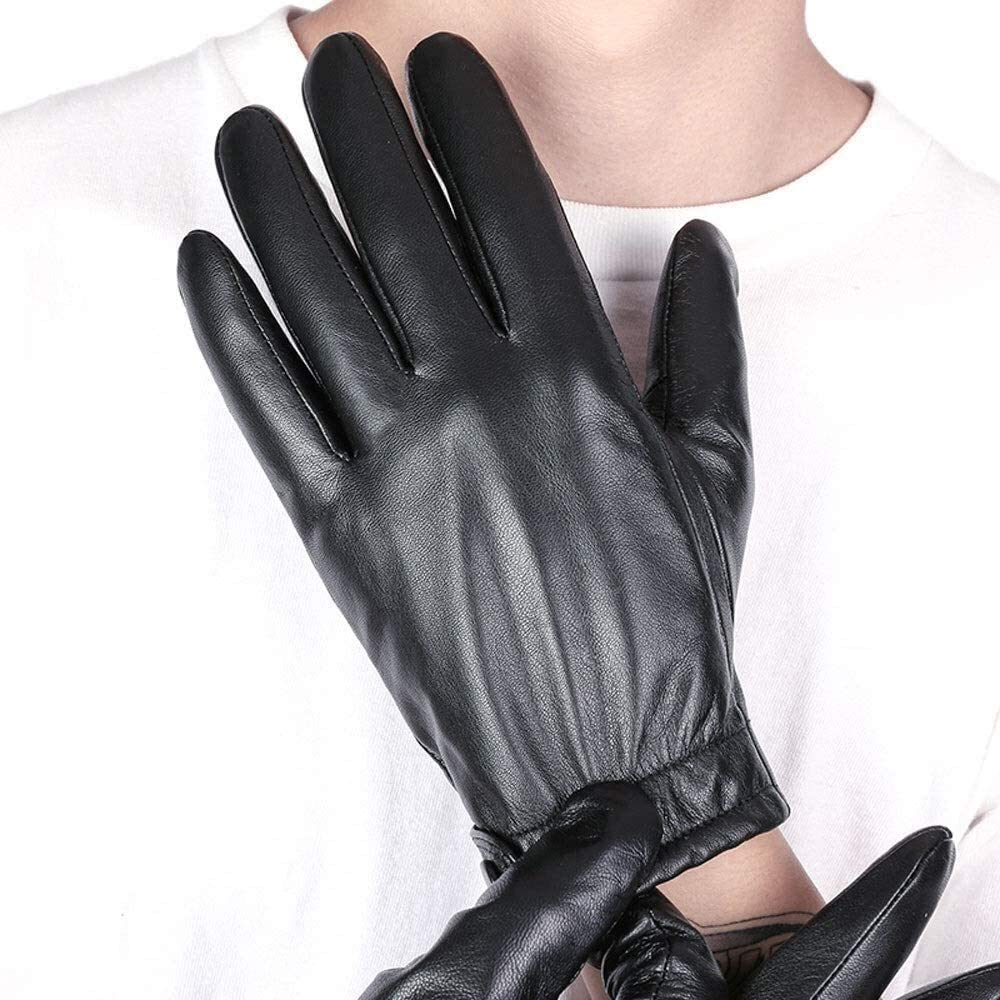 ACCDUER Men's Gloves Leather Gloves Motorcycle Driving Thin Section Touch Screen Sheepskin Gloves Touch Screen Men's Leather Gloves Men's Winter Warm Leather Mitten Driving Gloves