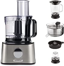 Kenwood Multipro Compact Food Processor, 2.1 Litre Bowl, 1.2 Litre Glass Blender, Dough Hook, Whisk, 3 Slicing and Grating...