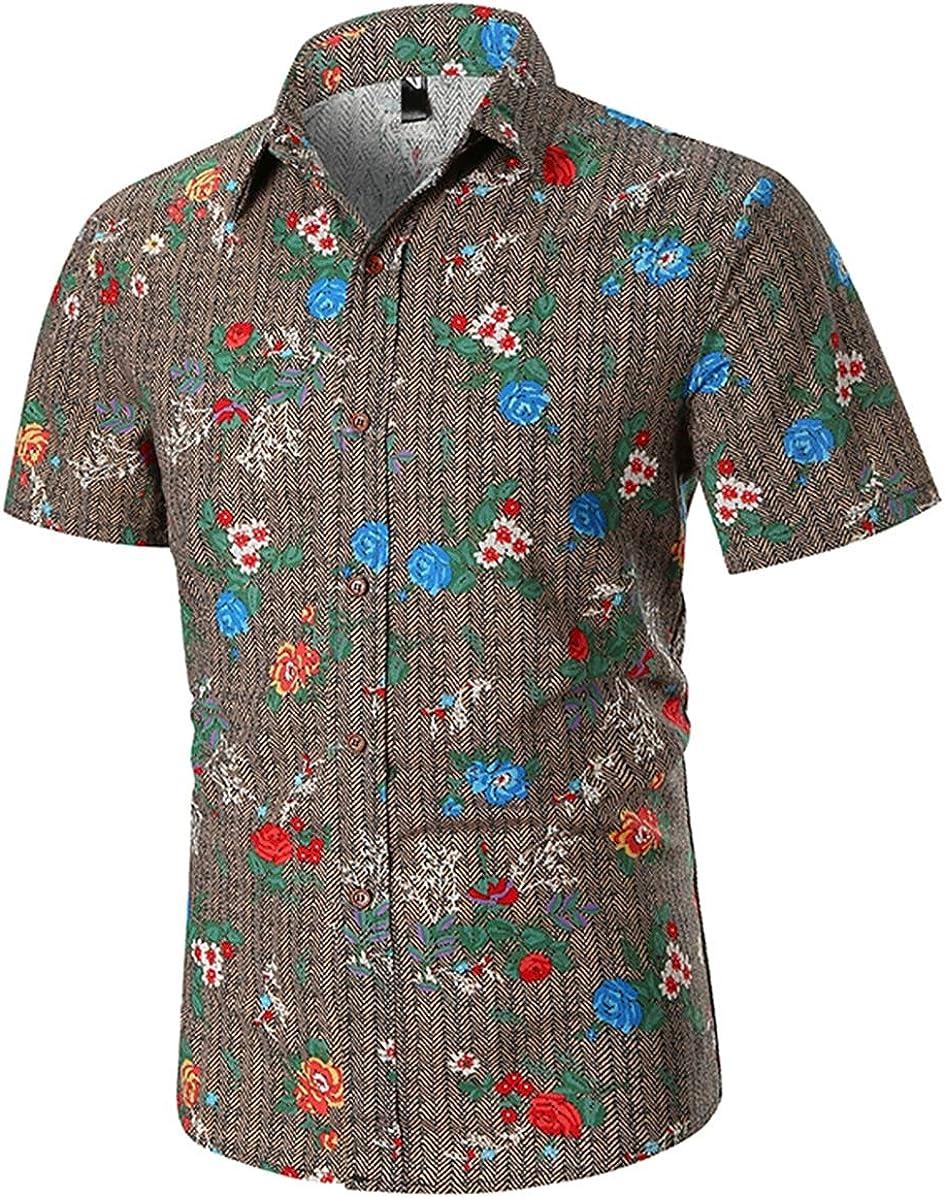 Men's Shirt Classic Casual Fashion Flower Print Short-Sleeved Shirt Shirt Simple and Versatile
