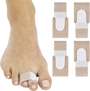 ViveSole Broken Toe Wrap (4 Pack) - Hammer Toe Corrector - Compression Cushion for Women, Men and Seniors - Reusable and Soft Big Crooked Toe Splint - Overlapping Pain Relief Separator Bandage